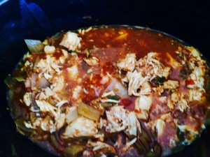 The chicken a apart with a stir and a mix!!
