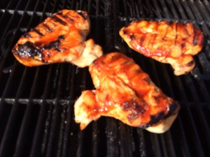 I love a little char when I grill. Medium/High heat keeps the chicken moist and you still get  the char! The gauge on the grill read 350-370 degrees.