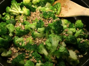 Make sure your heat is at a low/medium temperature! You don't want to brown the broccoli just heat through and mix the flavors together.
