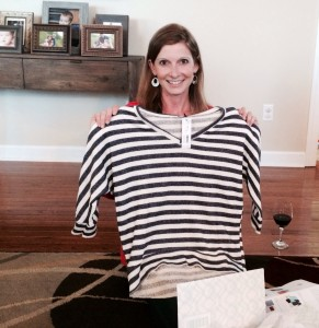 I have to admit I was totally bummed! A sweatshirt-y looking, big looking, jail looking striped top was NOT what I had in mind!!!