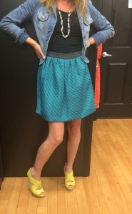 Pairing a bubble skirt with a wedge adds an edge to the feminine pump look.