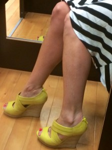 The brand new chartreuse Seychelles Los Angeles wedges were a great fashion find and a steal at $13!