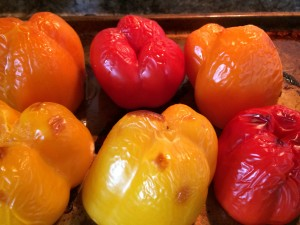 "The peppers will soften but at the same time brown, if that makes sense. Here is the ""look ."" If you overcook they will turn to mush and be impossible to stuff. Error on less time if you are worried."