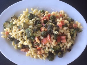 I started with the roasted sprouts and ended up with a fabulous pasta dish!
