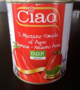 My favorite brand is Ciao tomatoes! Break up the whole tomatoes while mixing.