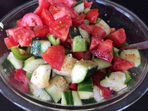 In the summer, I love to serve a crisp, cold salad with steak. Here is a cucumber-tomato -pepper salad seasoned with Ciao Pittsburgh's Aroma seasoning and a few splashes of olive oil!