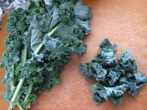 We enjoy superfood kale in a pan sauce, in our pizza, and even baked into kale chips!