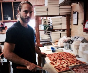 Nicholas Colangelo and the famous square pizza with the tiny pepperoni!