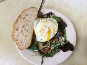 Since it was brunch-ish, Nicholas topped my beans and greens with an egg. Yummy!